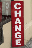 Change. Sign Change in the streets of Prague Stock Photo
