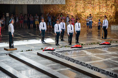 Change of soldiers guard in Hall of Military Glory. Memorial complex Mamayev Kurgan in Volgograd Stock Photography