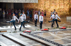 Change of soldiers guard in Hall of Military Glory. Memorial complex Mamayev Kurgan in Volgograd Stock Images