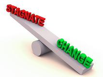Change or stagnate balance. Change has more weight of opinion in the balance against stagnation, change vs stagnate on a 3d balance royalty free illustration