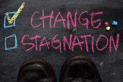 Change or Stagnation written with color chalk concept on the blackboard royalty free stock images