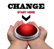 Change - Start Here Button. Hands Offering A Large Red Button For Changing Your Life Royalty Free Stock Images