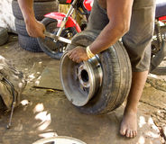 A change of tires in the caribbean Royalty Free Stock Photo