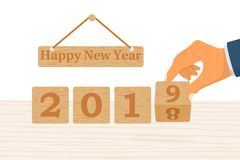 2018 change to 2019 new year stock illustration