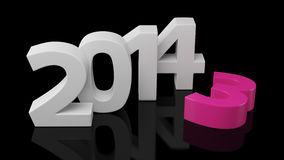 Change to year 2014. New year 2014 changes the expiring year 2013 on black background Stock Photos