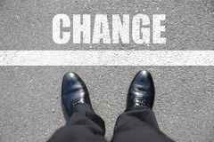 Change. Top view of business man walking on the road Stock Photos