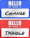 Change and trouble name tags illustration designs. Over white Royalty Free Stock Photography