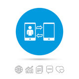 Change Video call to simple call sign icon. Smartphone symbol. Copy files, chat speech bubble and chart web icons. Vector royalty free illustration
