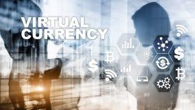 Change virtuel, concept d'investissement Symboles monétaires sur un écran virtuel Fond financier de technologie photographie stock libre de droits
