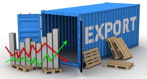 The change of volume of export. Concept Royalty Free Stock Photos