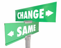 Change Vs Same Disrupt Status Quo Road Street Signs Royalty Free Stock Images