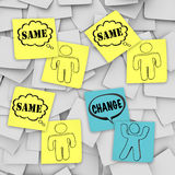Change Vs Same - Sticky Notes Stock Photos