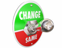 Change Vs Same Switch Toggle Lever Turn On Words. 3d Illustration Royalty Free Stock Images