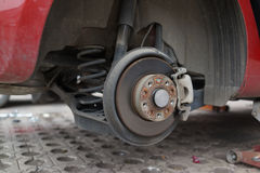Change wheels. Changing car wheels on the road Stock Photo