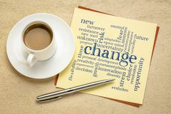 Change word cloud on a paper note. Change word cloud on a square note with a cup of coffee stock photos