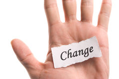 Change word in hand Royalty Free Stock Photos