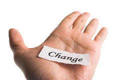Change word in hand Royalty Free Stock Photography