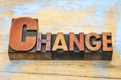 Change word in letterpress wood type Royalty Free Stock Photo
