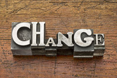 Change word in metal type Royalty Free Stock Photo