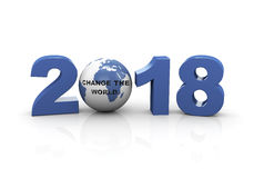2018 - Change the world. 3d rendering  of year 2018 and globe with text change the world Royalty Free Stock Photography
