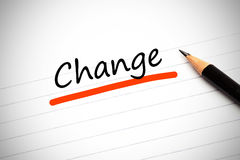 Change written on a notepad Royalty Free Stock Photography
