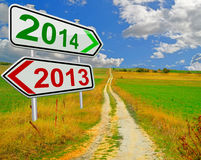 2013 2014. Change year sign nature road sky happy new year Royalty Free Stock Images
