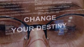 Change your destiny text on background of female developer stock footage