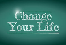 Change your life message written on a chalkboard. Stock Photography