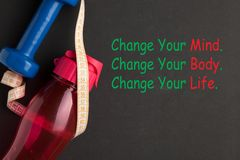 Change Your Mind Body Life. Change Your Mind. Change Your Body. Change Your Life royalty free stock photo