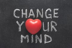 Change your mind heart. Change your mind phrase handwritten on blackboard with heart symbol instead of O stock photo
