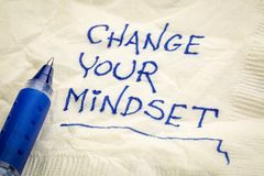 Change your mindset napkin doodle. Change your mindset advice or reminder - handwriting on a napkin Stock Photography