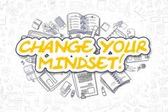 Change Your Mindset - Cartoon Yellow Word. Business Concept. Stock Photos
