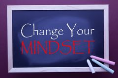 Change Your Mindset. Written on blackboard by color chalks. Business concept stock illustration