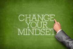 Change your mindset text on blackboard Royalty Free Stock Images