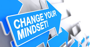 Change Your Mindset - Text on the Blue Pointer. 3D. Royalty Free Stock Photo