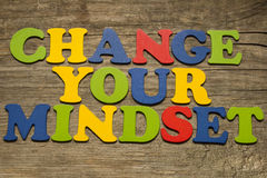 Change your mindset. Text on a wooden background stock photo