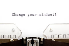 Change Your Mindset Typewriter. Change Your Mindset printed on old typewriter Royalty Free Stock Photography