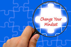 Change Your Mindset word. Magnifier and puzzles. Royalty Free Stock Photos