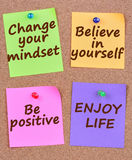 Change your mindset words on notes. Change your mindset words on colorful notes royalty free stock photography