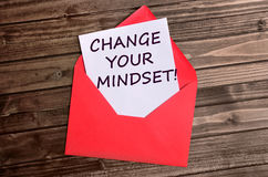 Change your mindset words on paper. Change your mindset words on white paper stock image