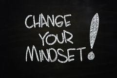 Change your mindset. Written with chalk on blackboard Stock Image