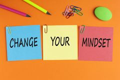 Change Your Mindset Concept. CHANGE YOUR MINDSET written on color notes with and office supplies. Motivational Message stock photography