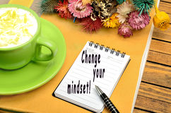 Change your mindset!. Change your mindset written on notebook royalty free stock photos