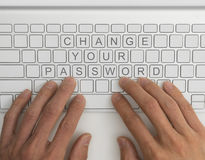 Change your password. Top down view of keyboard with the words change your password Royalty Free Stock Photo