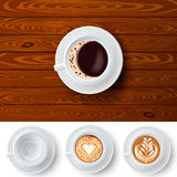 Changeable Coffee Cups On Wood Background. Top view composition of white cup of coffee on wooden table background and three extra similar coffee cups with latte royalty free illustration