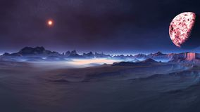 Changeable sunrise on alien planet. The bright sun moves in the dark starry sky. Above the horizon, a large planet moon rotates slowly. In the gorges dense white royalty free illustration