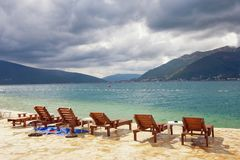 Changeable weather. Bay of Kotor, Montenegro Stock Image