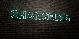 CHANGELOG -Realistic Neon Sign on Brick Wall background - 3D rendered royalty free stock image Stock Photo