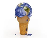 Changement climatique - la terre de crème glacée  Photos libres de droits