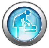 Changement de bébé d'icône/bouton/pictogramme Photo libre de droits
